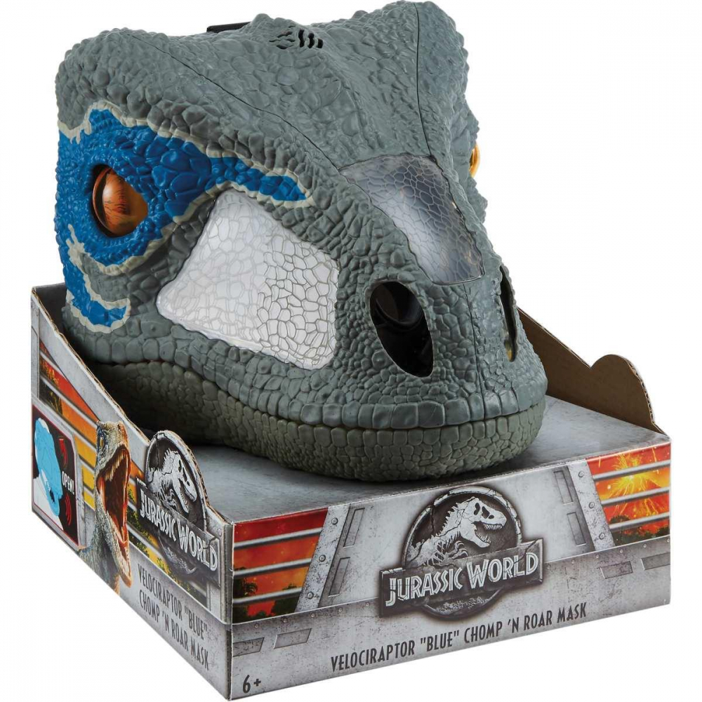 BONECO E PERSONAGEM JURASSIC WORLD MASCARA RAPTOR